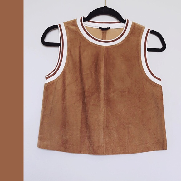 Theory Tops - Theory   Bonda Suede Leather Crop Top Size XS